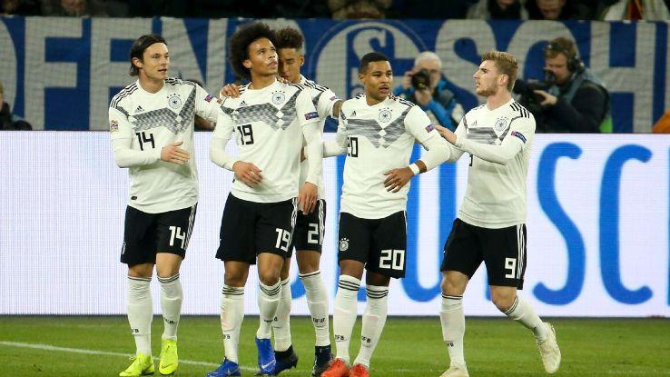 Leroy Sane of Germany celebrates his goal