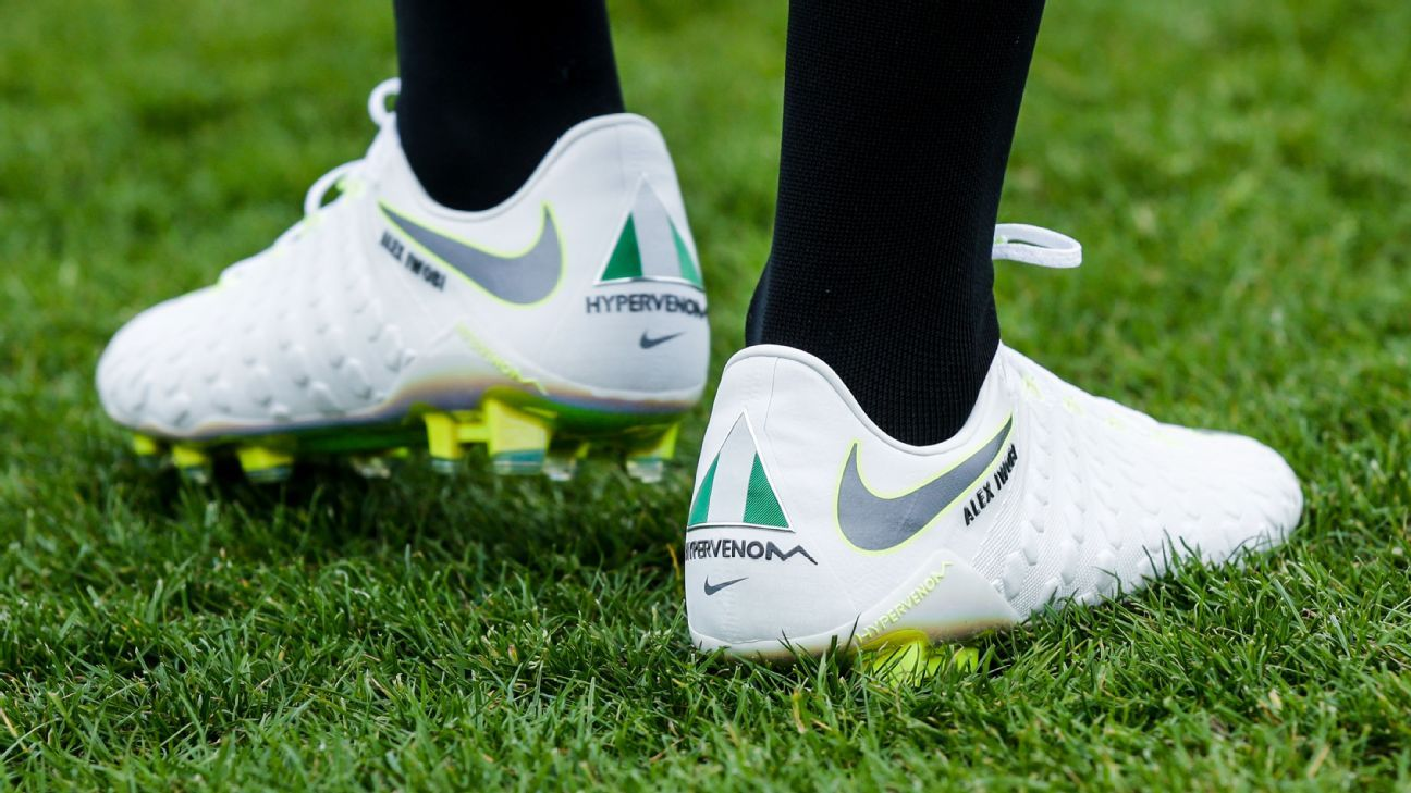 Nigeria striker Alex Iwobi's Nike cleats.