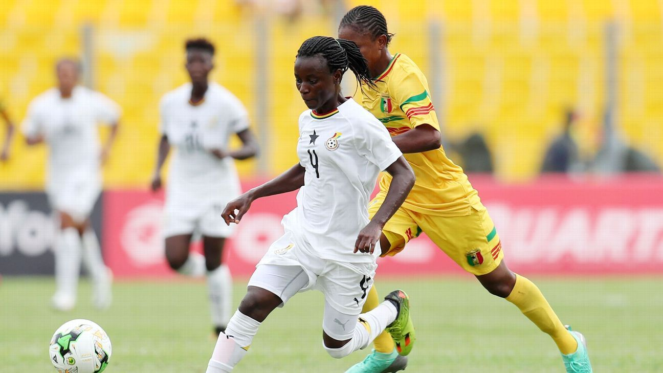 Janet Egyir of Ghana challenged by Bassira Toure of Mali