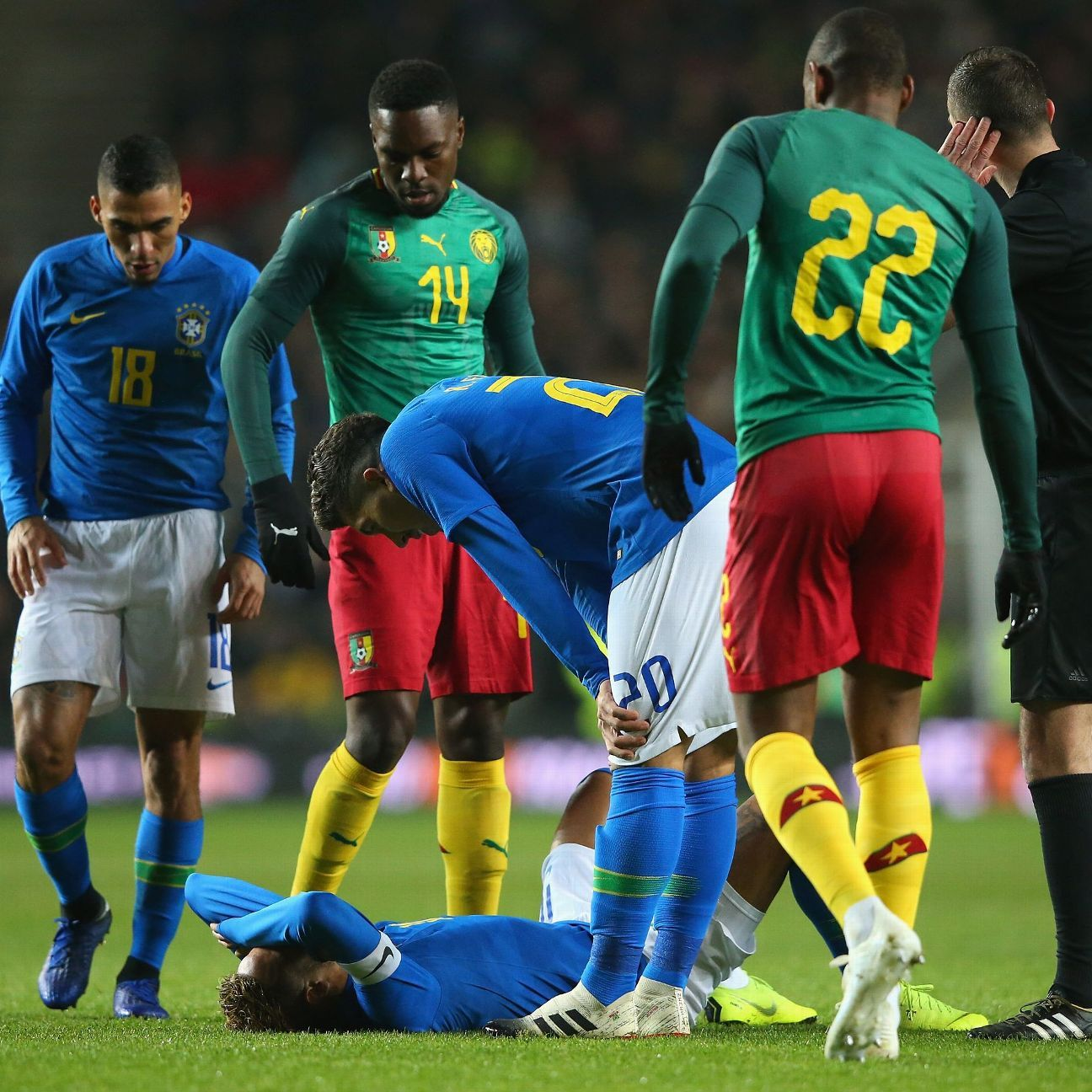 Neymar of Brazil lies injured during the International Friendly match between Brazil and Cameroon at Stadium MK on November 20, 2018 in Milton Keynes, England.