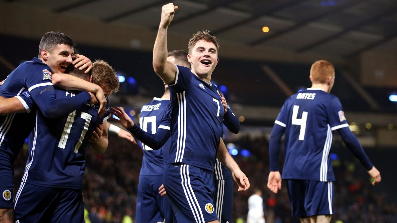 James Forrest hits hat trick as Scotland beat Israel to earn promotion