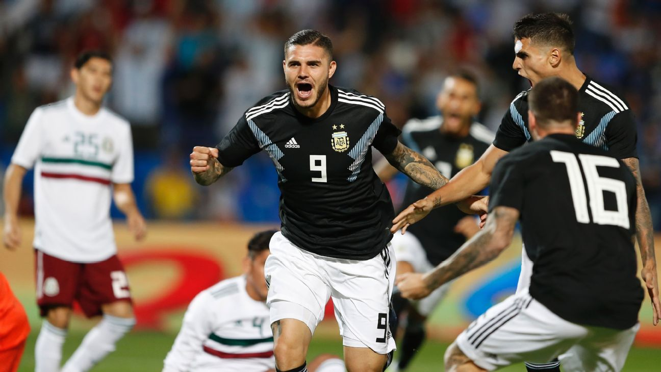 Mauro Icardi scored his first goal for Argentina in the team's 2-0 win over Mexico on Tuesday.