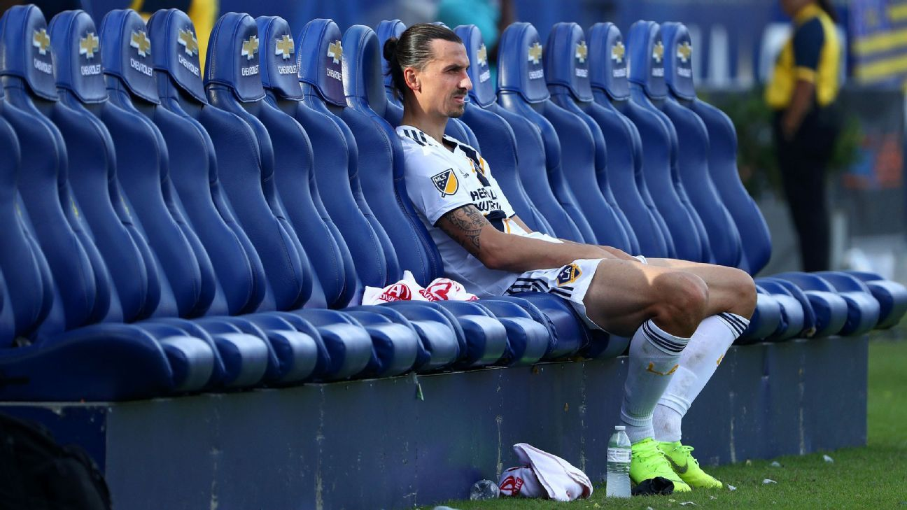 Over and out: Zlatan Ibrahimovic's season -- highlighted by 22 goals -- comes to a tough ending when the Galaxy lose to Houston and fail to reach the playoffs.