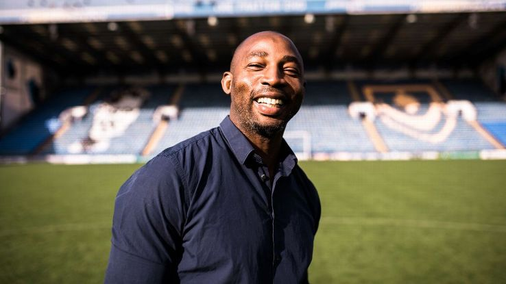 Vincent Pericard smiles on the pitch at Fratton Park, Portsmouth, where he ended up on loan from Juventus after a text message began a series of life-changing events.