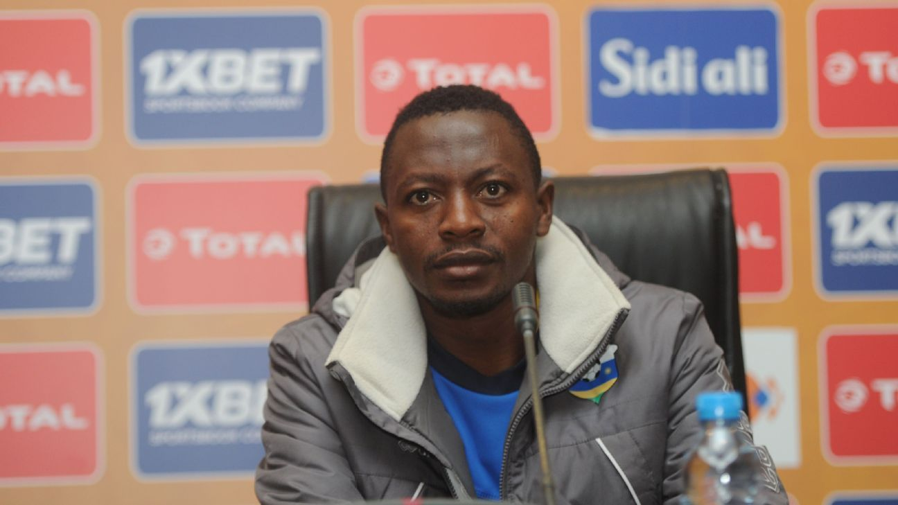 Rwanda goalkeeper Eric Ndayishimiye speaks to the media