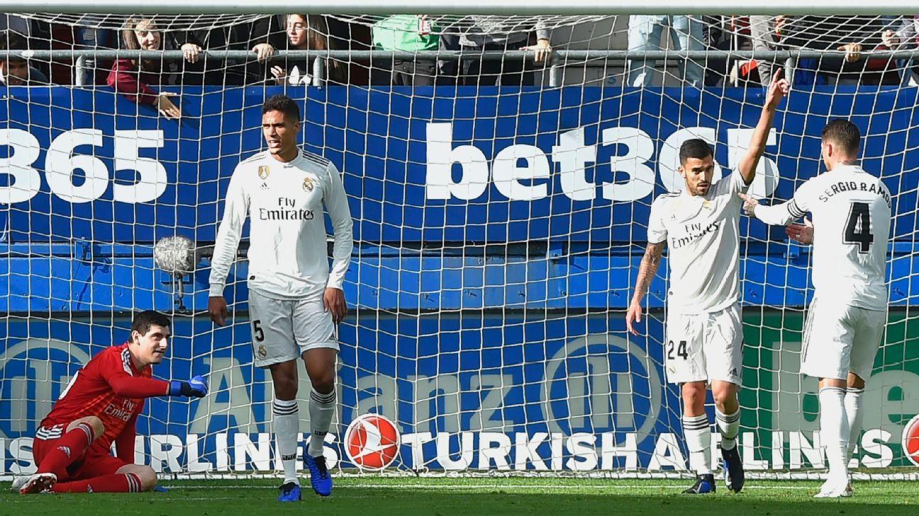 Real Madrid fell behind at Eibar to Gonzalo Escalante's 16th-minute goal