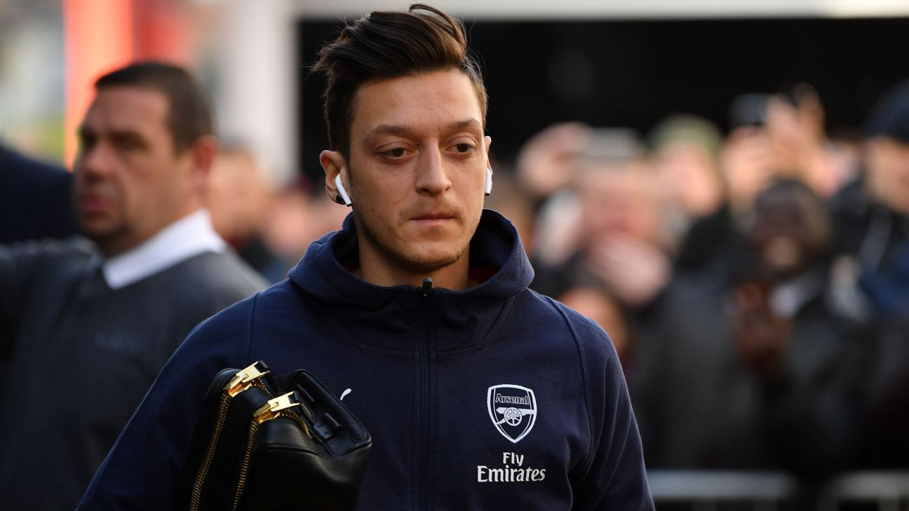 Mesut Ozil was named among the substitutes for Arsenal's match at Bournemouth
