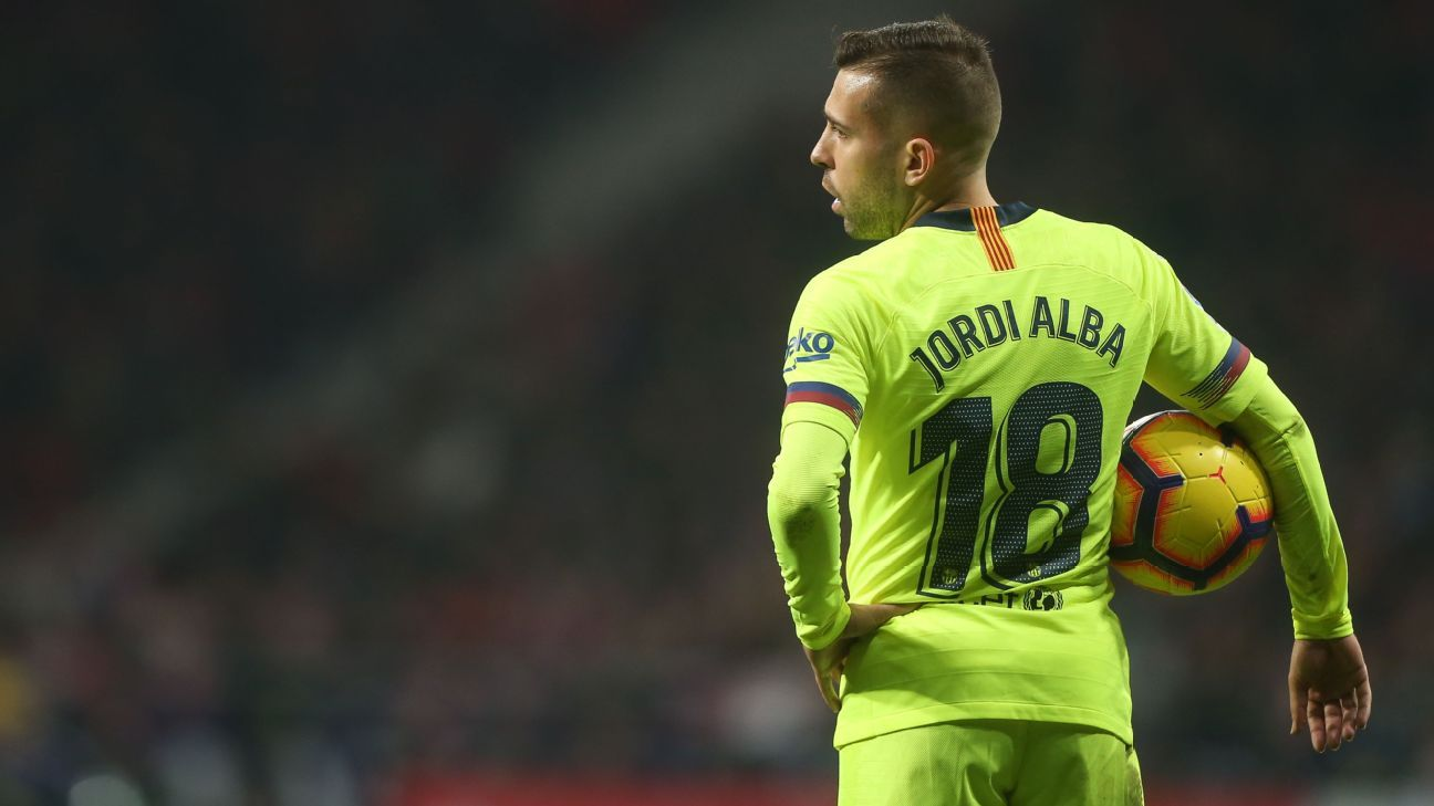 Barcelona left-back Jordi Alba has yet to be offered a contract extension by the club