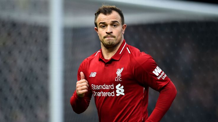 Xherdan Shaqiri in action for Liverpool during their 3-0 victory over Watford