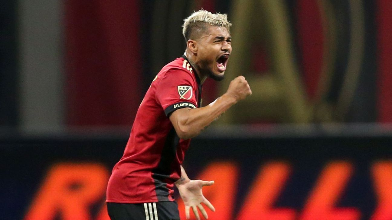 Josef Martinez celebrates after scoring in Atlanta United's MLS playoff game against the New York Red Bulls.