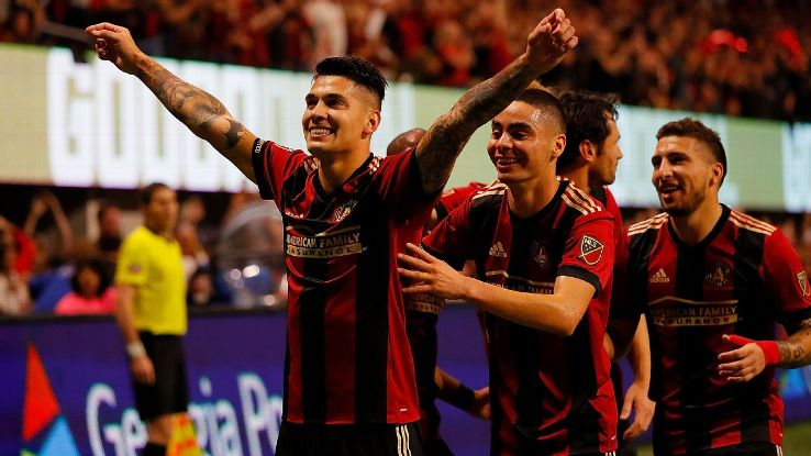 Franco Escobar celebrates after scoring in Atlanta United's MLS Cup playoff win over the New York Red Bulls.