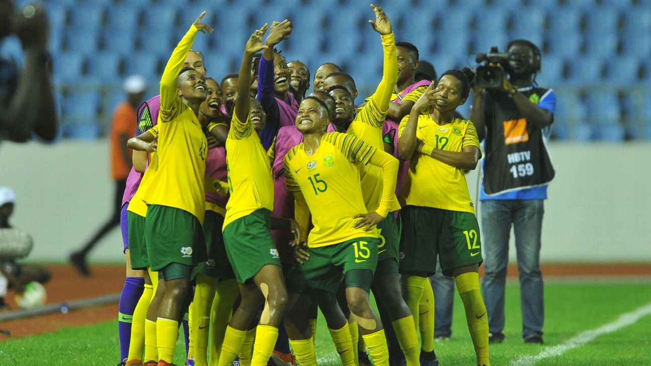 Banyana Banyana celebrate their AWCON semi-final success