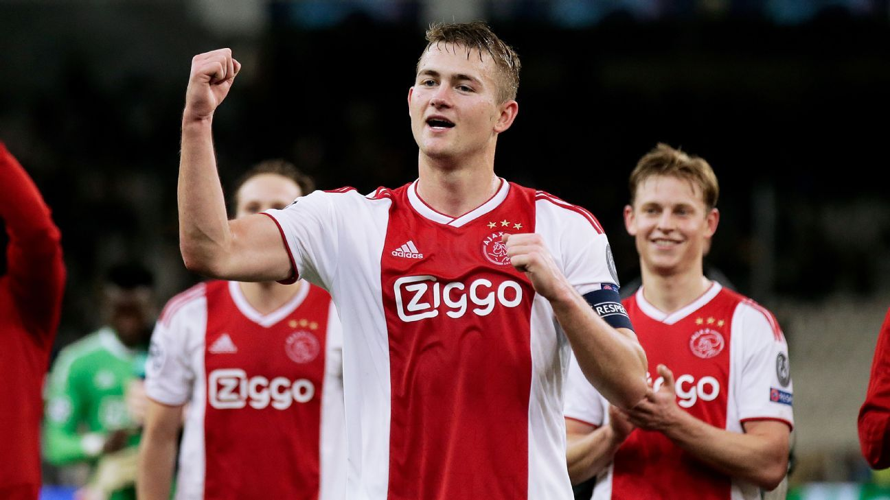 Ajax defender Matthijs de Ligt celebrates after his team beat AEK Athens to book a spot in the Champions League round of 16.
