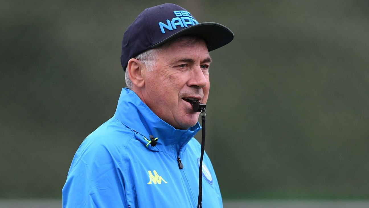 Carlo Ancelotti takes training for Napoli ahead of home clash with Red Star Belgrade