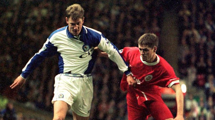 Henchoz, left, saw Gerrard's debut up close as a Blackburn defender. He later joined Liverpool and spent six seasons as Gerrard's teammate.