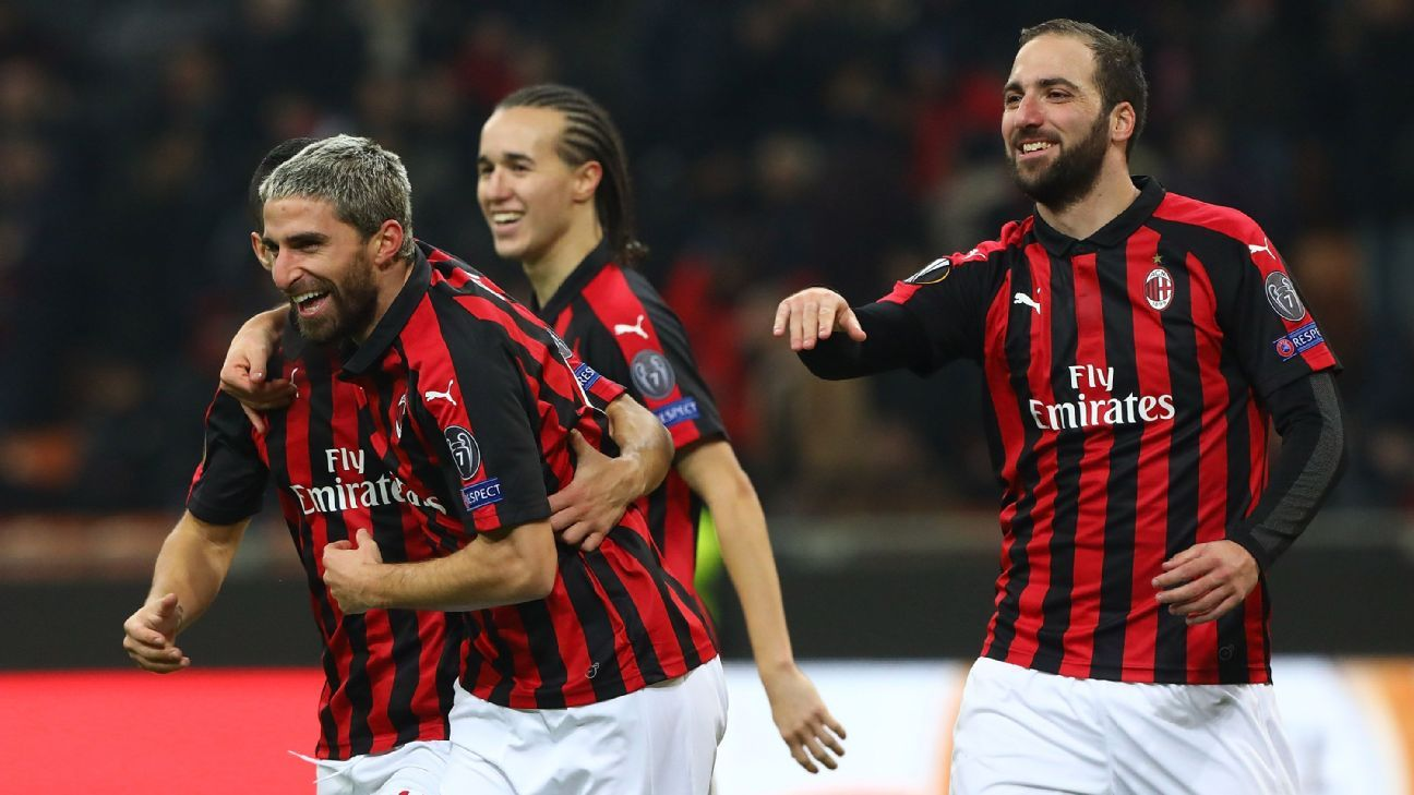 AC Milan players celebrate after scoring a goal against F91 Dudelange in the Europa League.