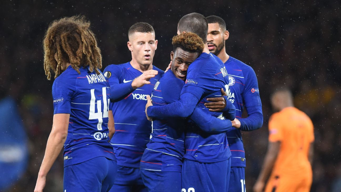 Chelsea players celebrate Callum Hudson-Odoi scored his first career goal in a 4-0 win over PAOK.