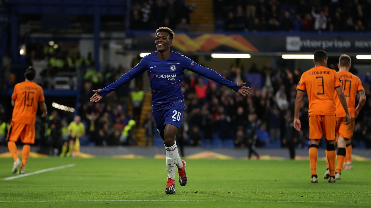 Callum Hudson-Odoi of Chelsea celebrates after scoring his team's third goal against PAOK.