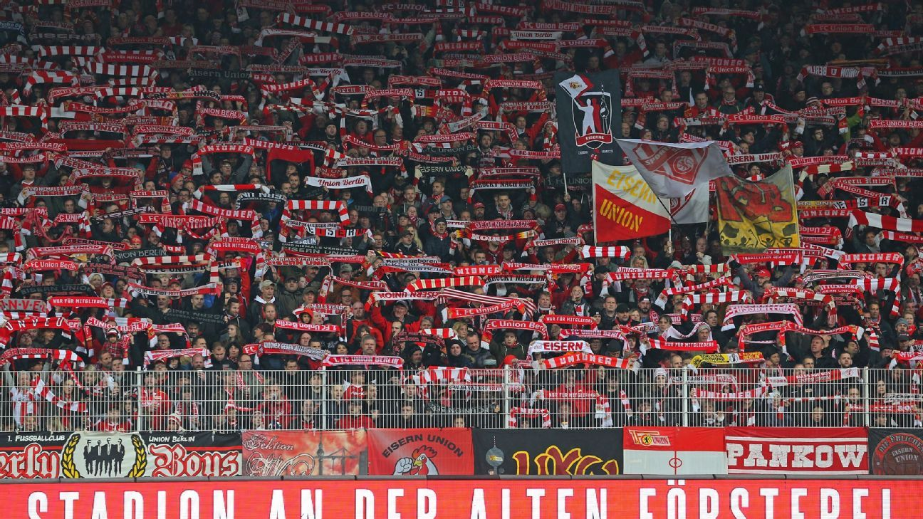 FC Union Berlin fans before a Bundesliga second division match: Consistent ticket prices and increased fan engagement boosts the league's popularity.