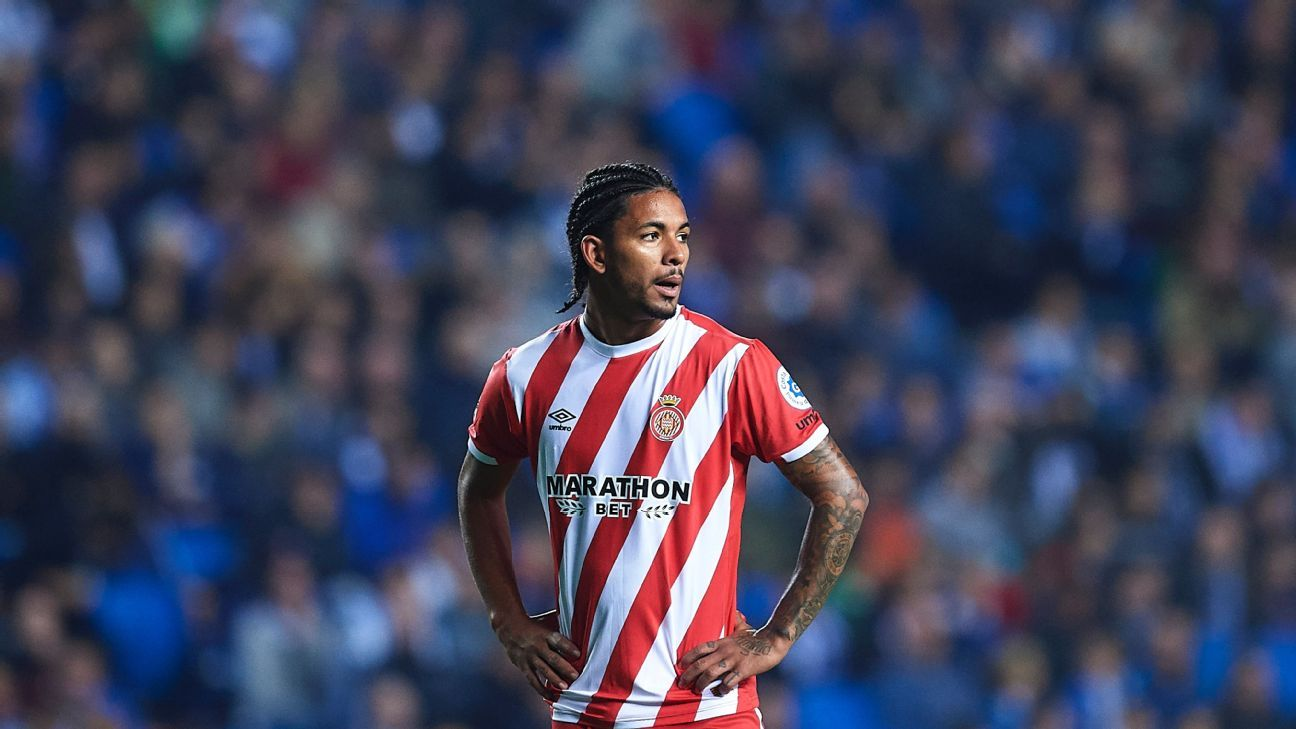 Douglas Luiz of Girona FC in action during a La Liga match against Real Sociedad.