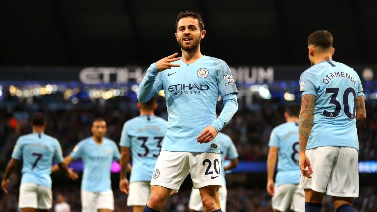 Bernardo Silva of Manchester City celebrates after scoring his team's first goal
