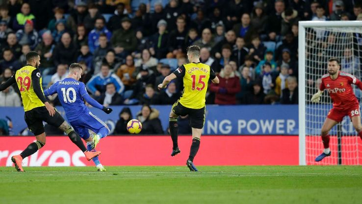 James Maddison of Leicester City celebrates scoring a goal