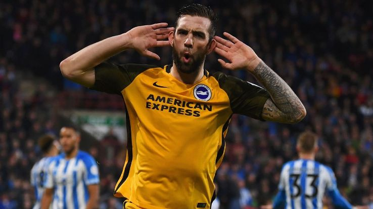 Shane Duffy of Brighton and Hove Albion celebrates