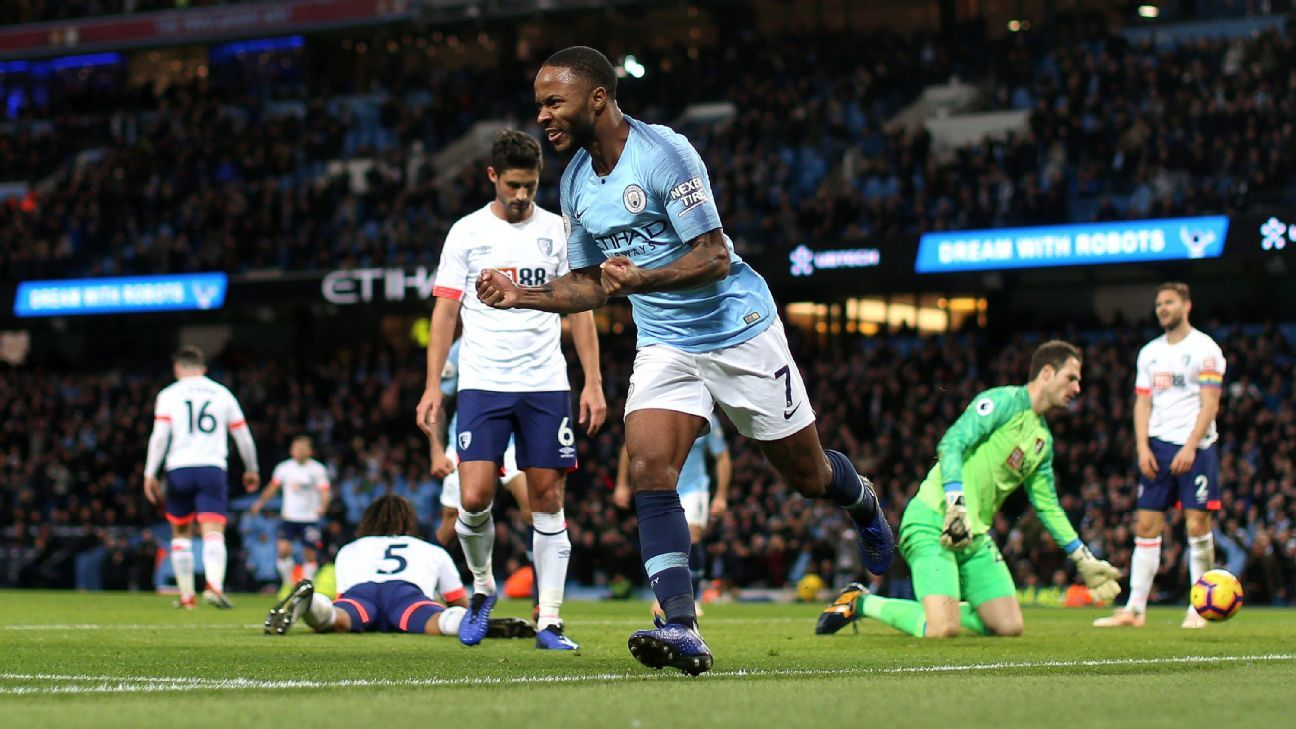 Raheem Sterling loves playing Bournemouth, as the Englishman now has eight goals in his last six games vs. the Cherries.