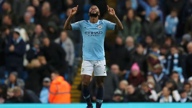 Raheem Sterling celebrates after scoring in Manchester City's Premier League win over Bournemouth.