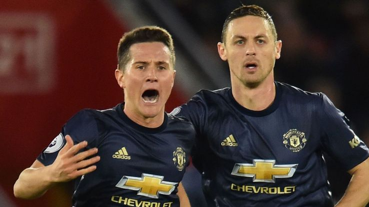 Ander Herrera, left, celebrates after scoring in Manchester United's Premier League match at Southampton.