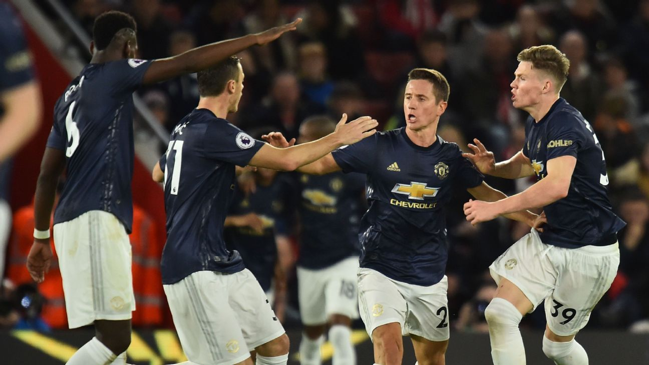 Ander Herrera, centre, celebrates after scoring in Manchester United's Premier League match at Southampton.