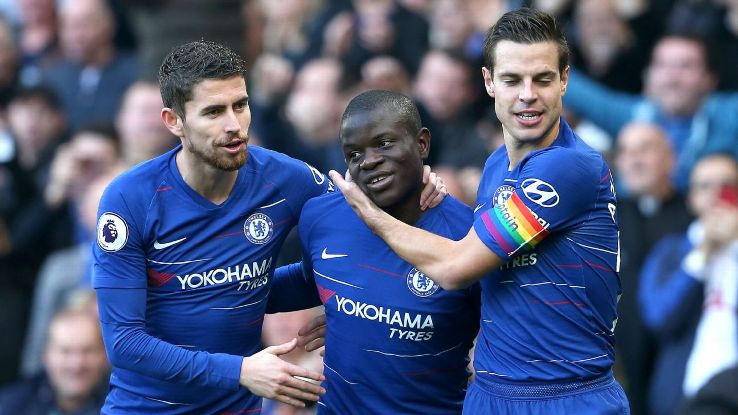 N'Golo Kante celebrates Chelsea's opening goal during the Premier League game against Fulham.