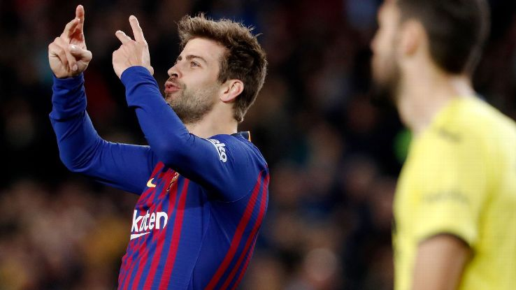 Gerard Pique scored for the second straight game in Barcelona's win over Villarreal.