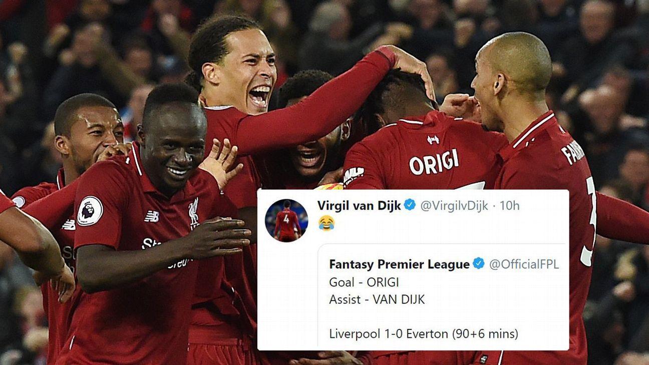 Virgil van Dijk couldn't believe he was credited with an assist for Divock Origi's goal against Everton