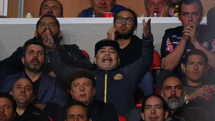 Diego Maradona (C), coach of Dorados de Sinaloa gestures during the final second leg match
