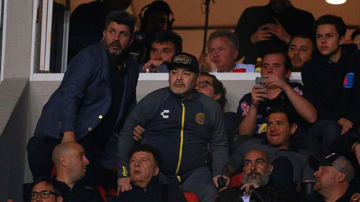 Diego Maradona watches on from the stands Dorados are beaten by Atletico San Luis