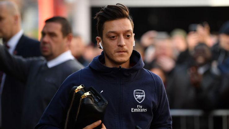 Mesut Ozil is a doubt for Arsenal's clash with Manchester United at Old Trafford