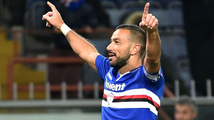Fabio Quagliarella celebrates after scoring in Sampdoria's Serie A win over Bologna.
