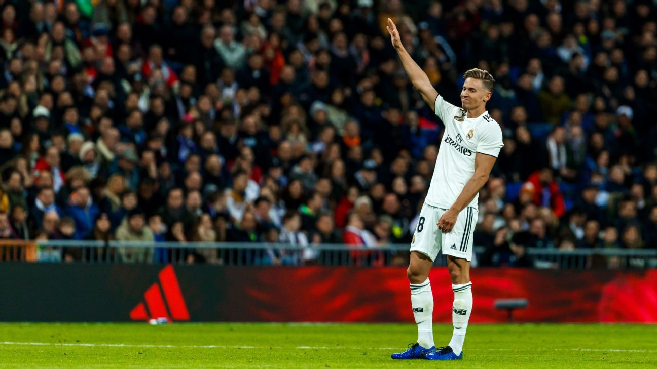 Marcos Llorente celebrates during Real Madrid's La Liga win over Valencia.