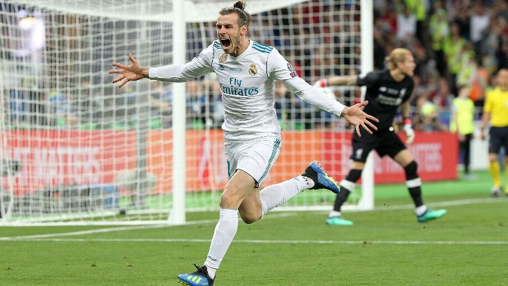 Real Madrid forward Gareth Bale celebrates after scoring against Liverpool in the Champions League final