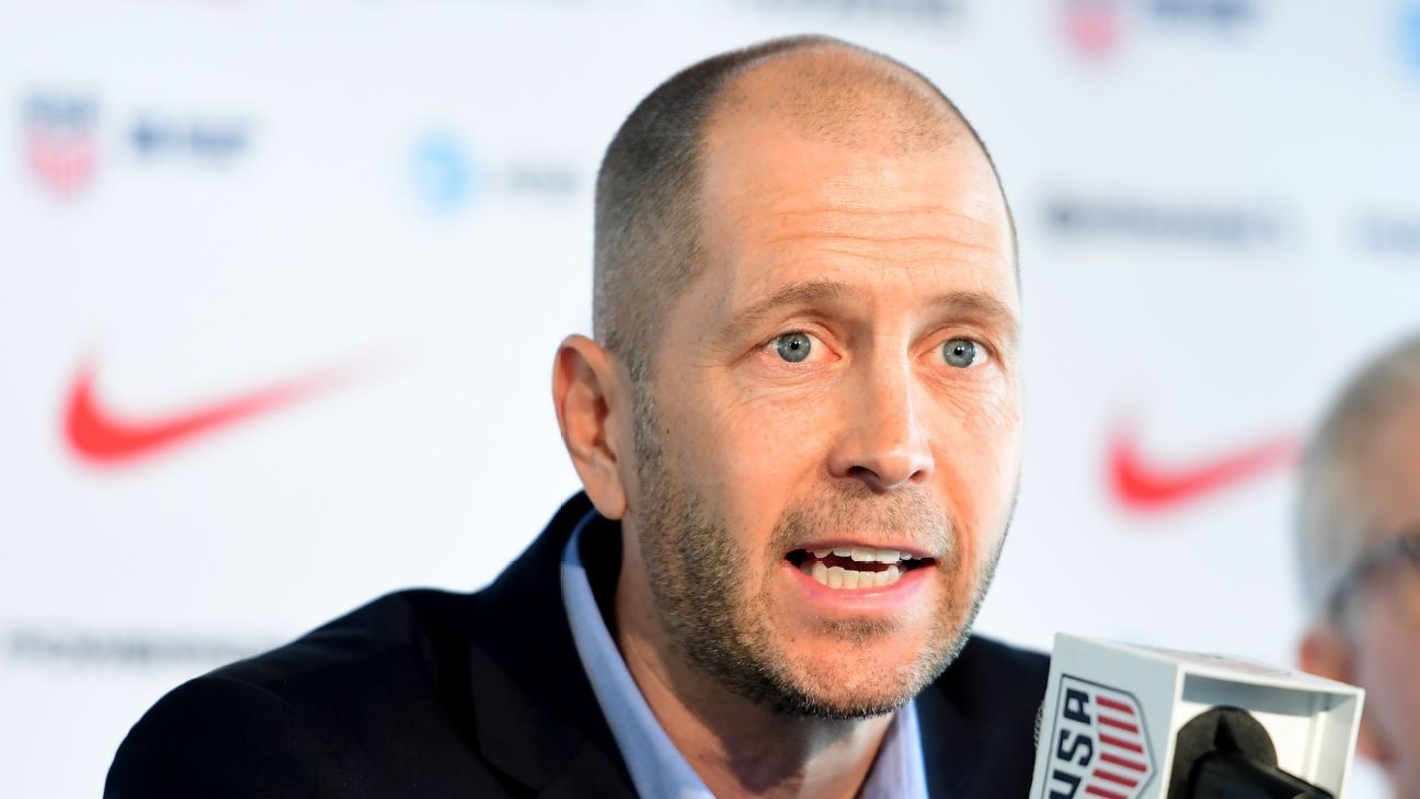 Gregg Berhalter speaks to the media at his introduction as new U.S. men's national team manager.