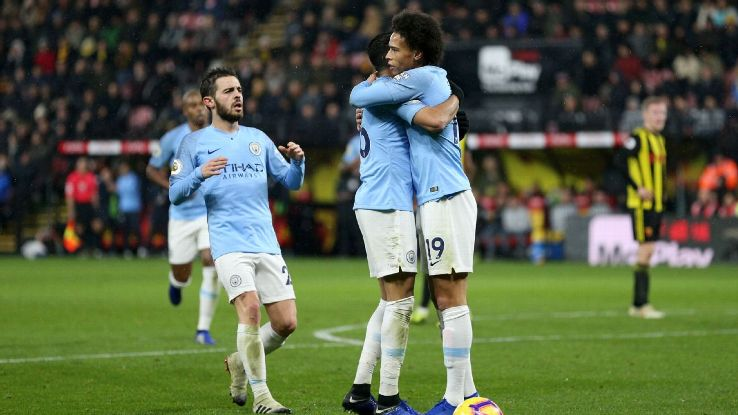 Man City made it seven in a row in the Premier League, holding on for a 2-1 win over Watford in the Premier League.