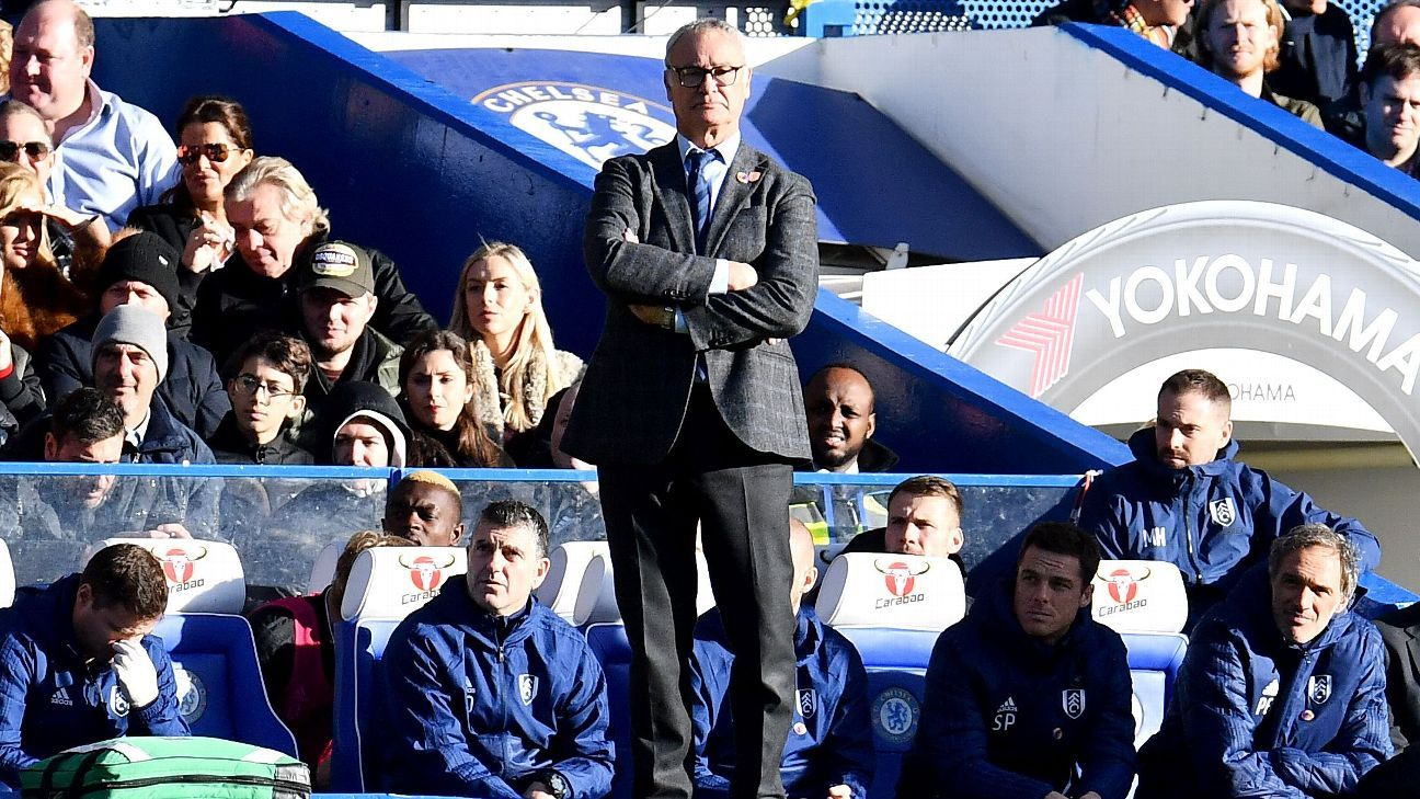 Fulham boss Claudio Ranieri looks on during his team's Premier League match against Chelsea.