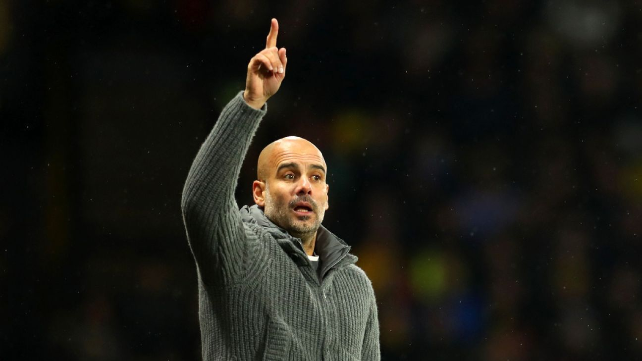Pep Guardiola shots directions to his players during Man City's win against Watford in the Premier League.
