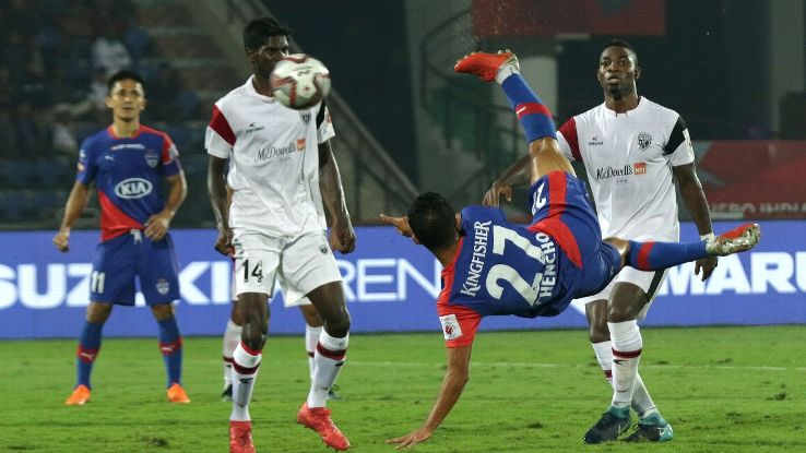 Chencho Gyeltshen scores with an acrobatic effort for Bengaluru against NorthEast.