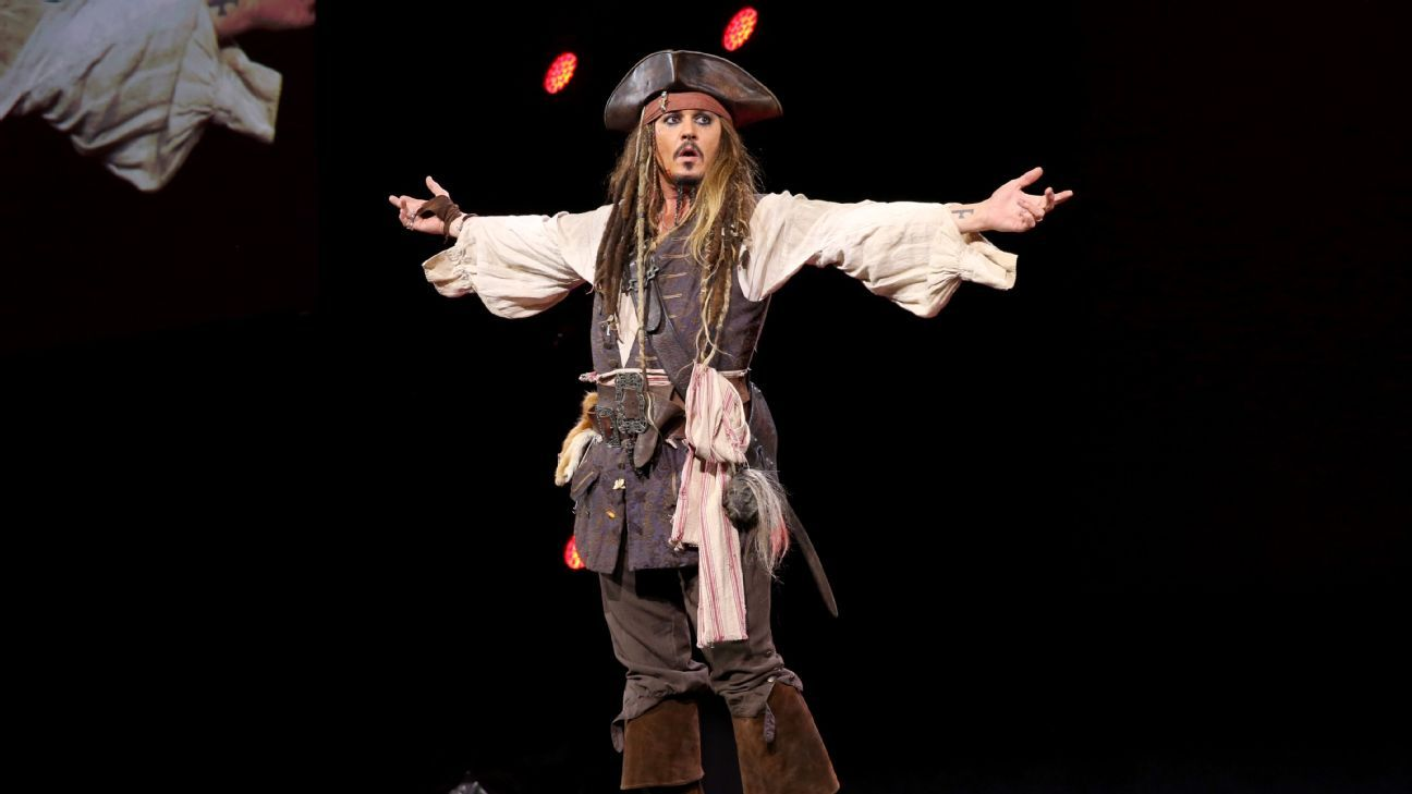 Actor Johnny Depp performs his role of Captain Jack Sparrow at Walt Disney Studios.