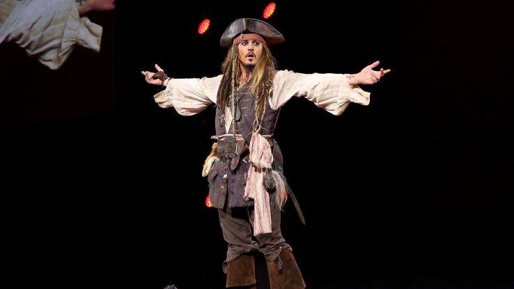Actor Johnny Depp performs his role of Captain Jack Sparrow at Walt Disney Studios.