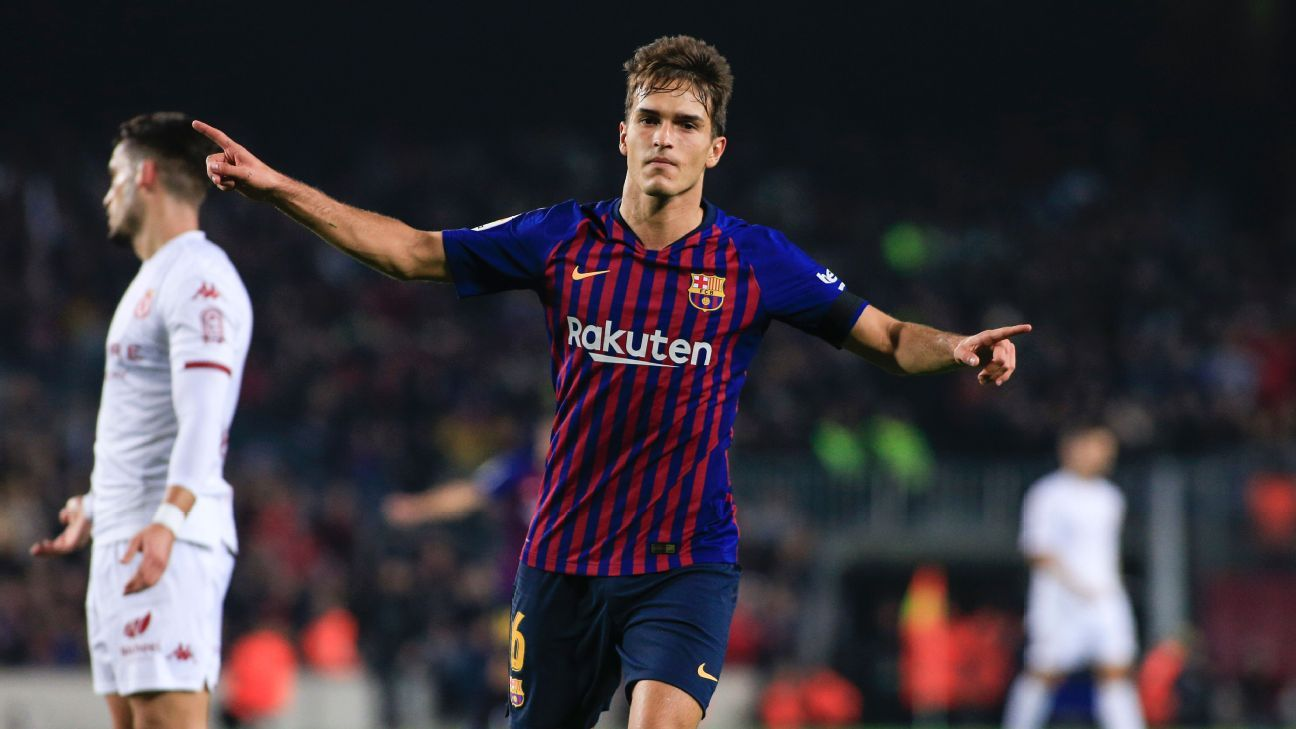 Denis Suarez of Barcelona celebrates after scoring a goal in the Copa del Rey.