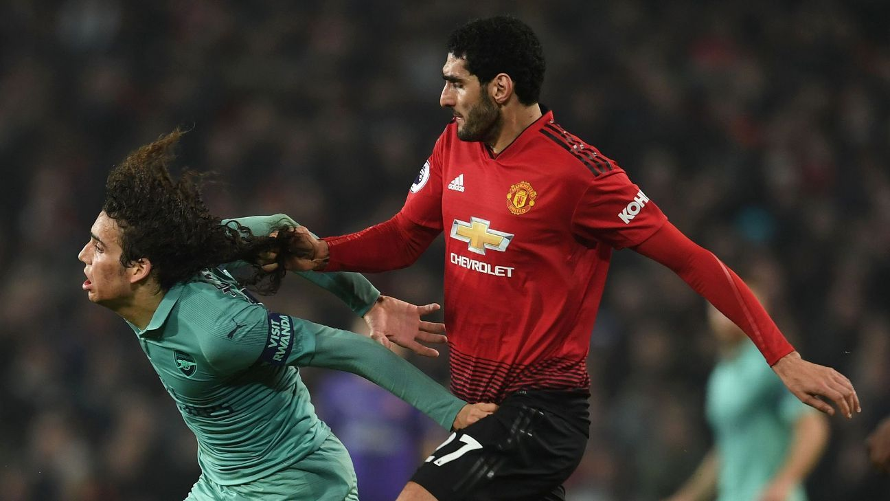 Marouane Fellaini pulled Matteo Guendouzi's hair during Manchester United's 2-2 draw with Arsenal
