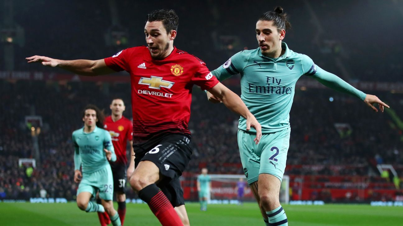 Manchester United defender Matteo Darmian holds off Arsenal's Hector Bellerin
